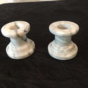 Set Of 2 Short Gray Marble Candle Stick Holders